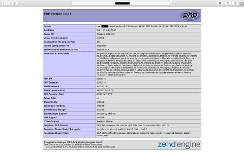 phpinfoの内容