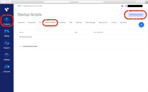Startup Scriptの新規登録